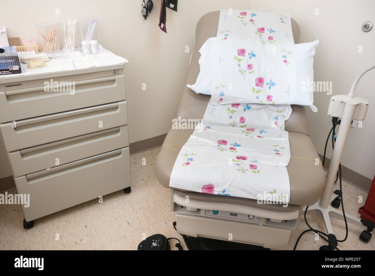 Examination room in a gynecologist's office - Stock Image