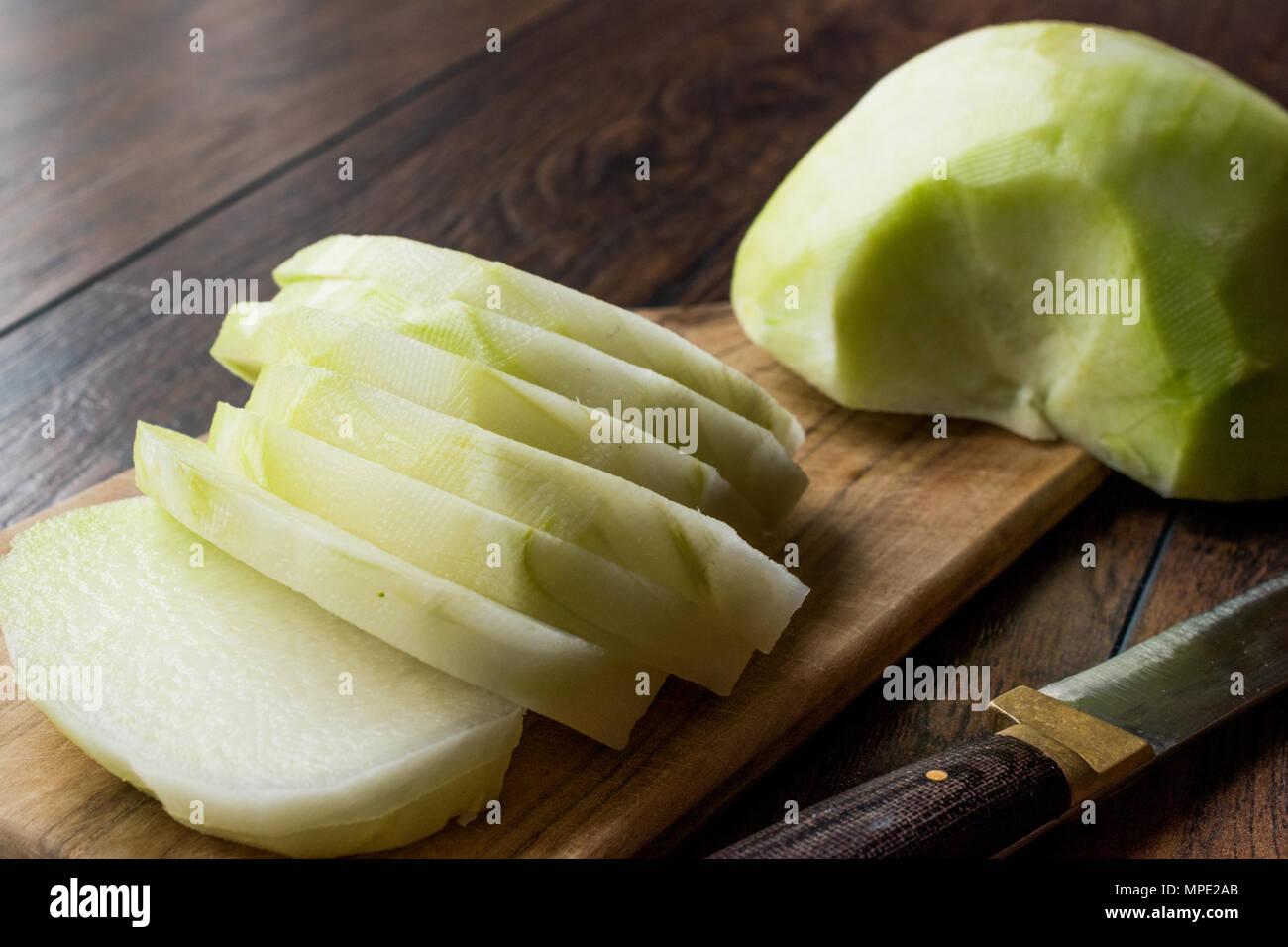 Sliced Turkish Alabas Turp / Organic Fresh Whole Radish Slices with Knife. Organic Food. - Stock Image