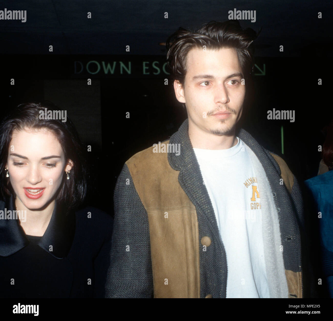 CENTURY CITY, CA - FEBRUARY 2: (L-R) Actress Winona Ryder and actor Johnny Depp attend 'The Silence of the Lambs' Century City Premiere on February 2, 1991 at Cineplex Odeon Century City Cinemas in Century City, California. Photo by Barry King/Alamy Stock Photo - Stock Image