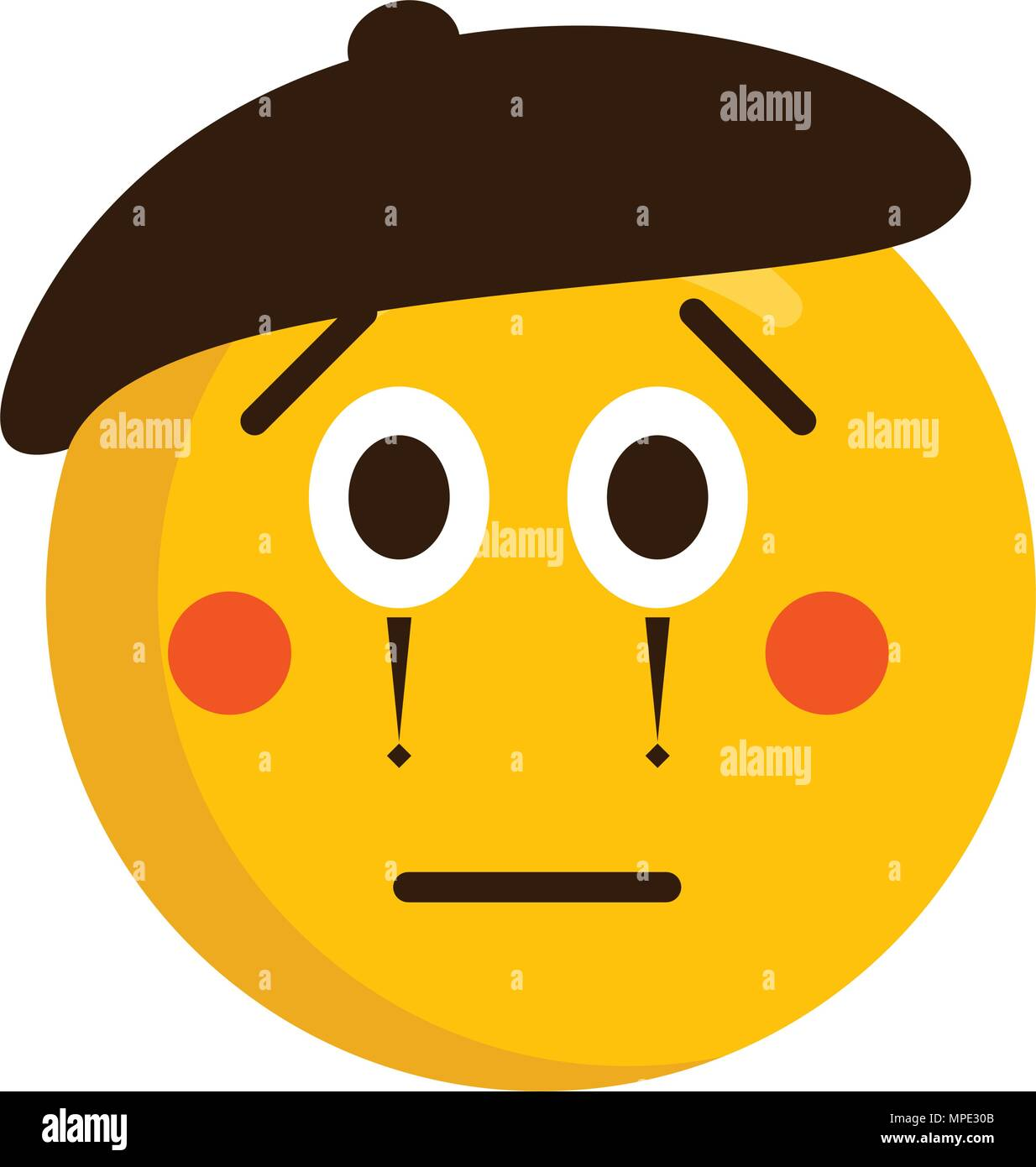 Sad mime emoji icon - Stock Vector