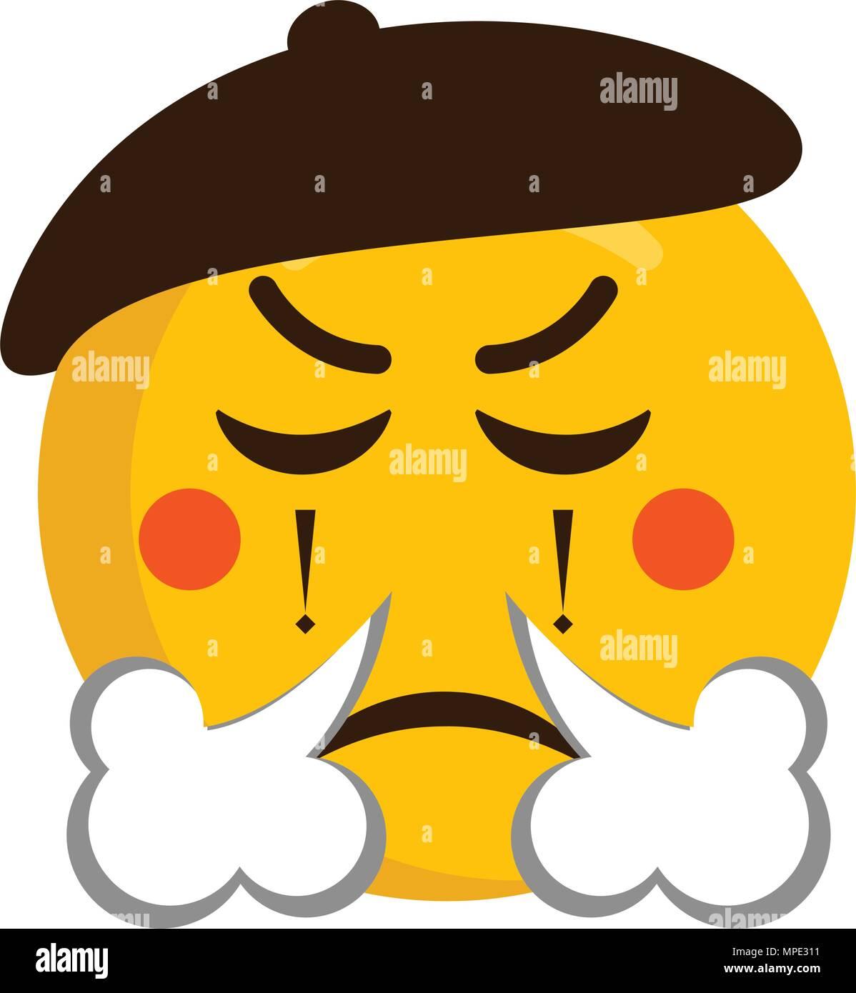 Angry mime emoji icon - Stock Vector
