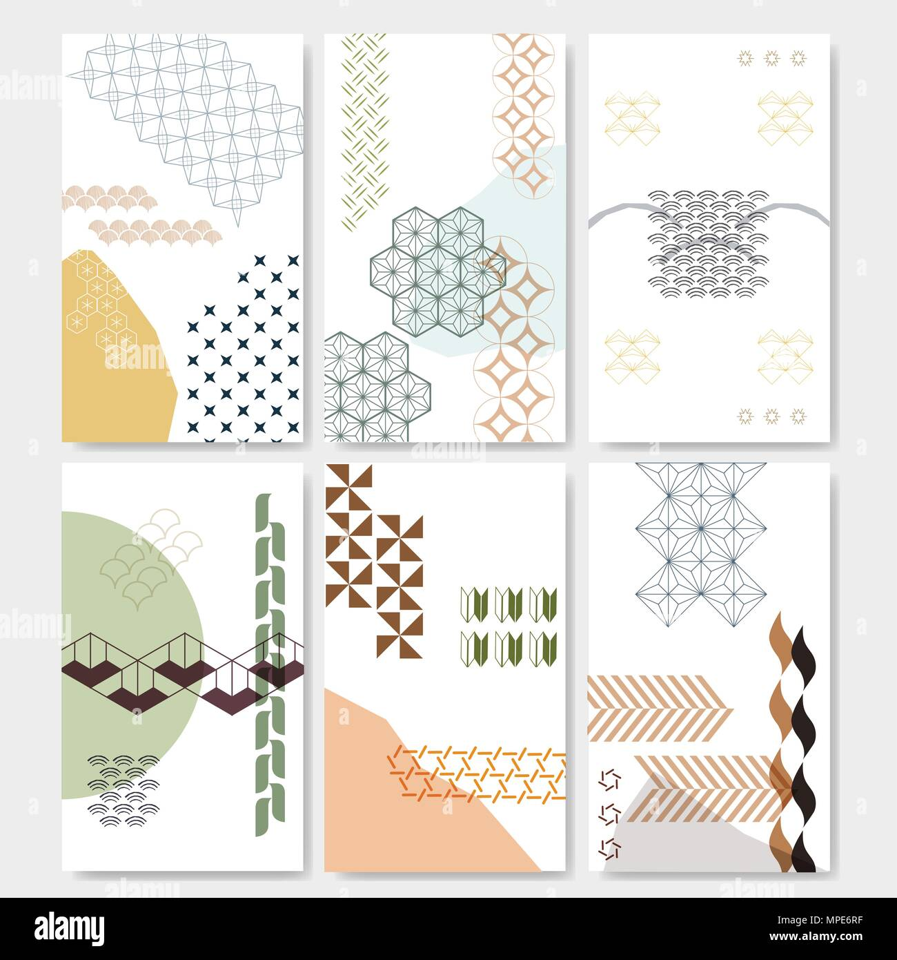 Japanese Pattern Vector With Geometric Elements For Template