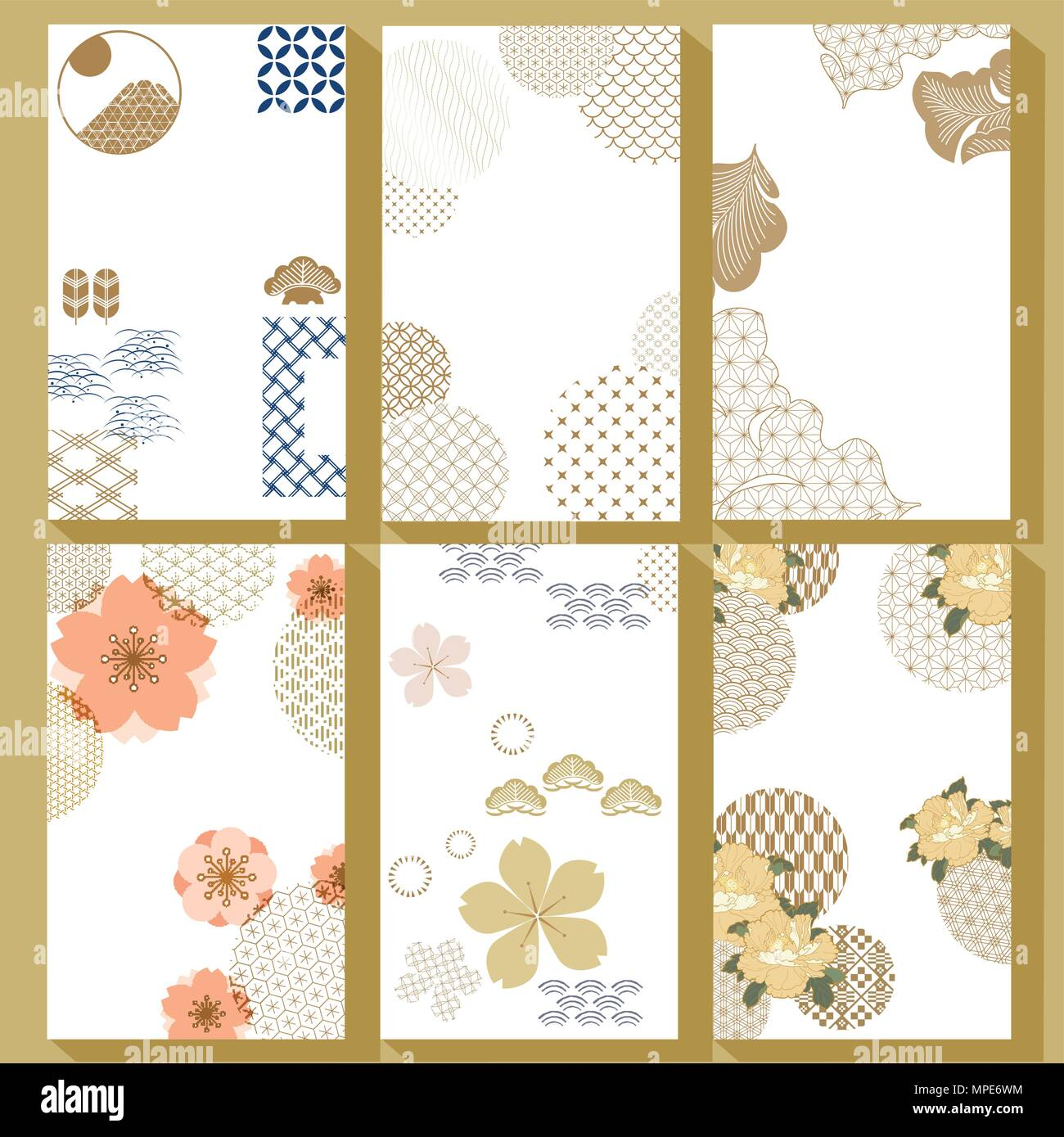 Japanese Template Vector Cherry Blossom Peony Flower Wave