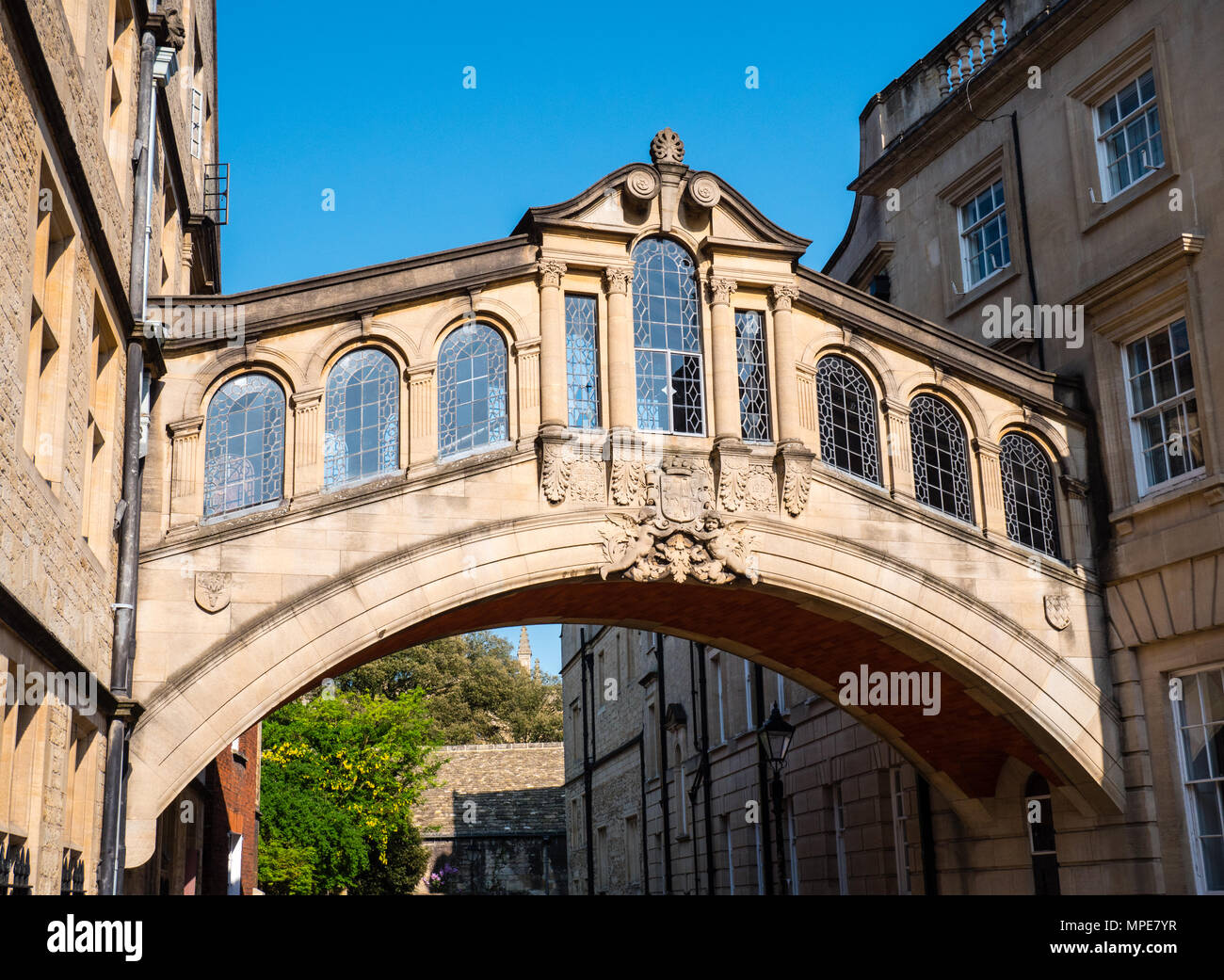 Bridge of Sighs, Skyway, Hertford College, New College Lane, Oxford, Oxfordshire, England, UK, GB. - Stock Image