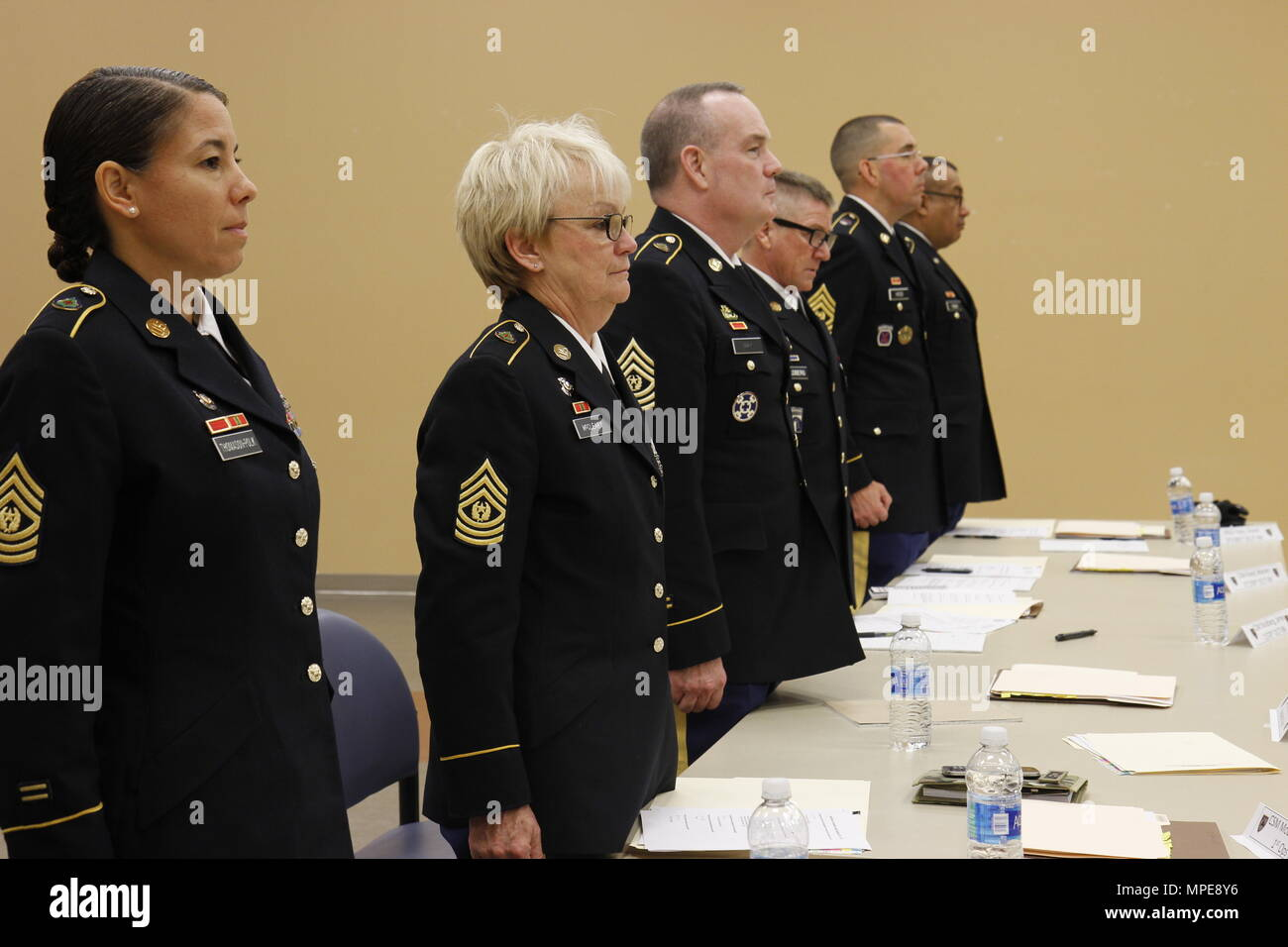 US Army Command Sgts Maj Of The 91st Training Division Listen To A Soldier Say Non Commisioned Officers Creed During Board On February 9th