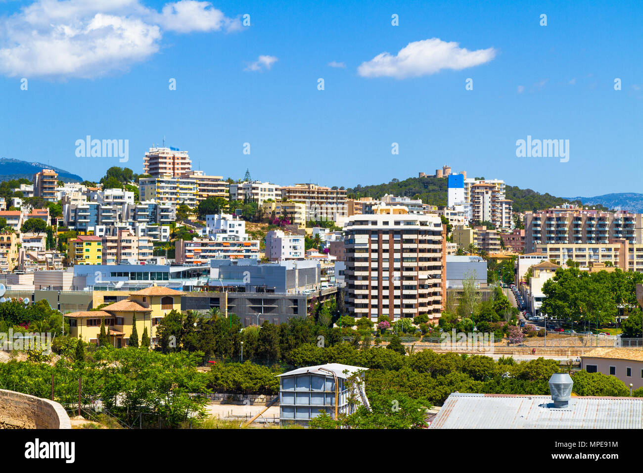 Panoramic view suburban Palma Mallorca with Belvere castle in the background. - Stock Image