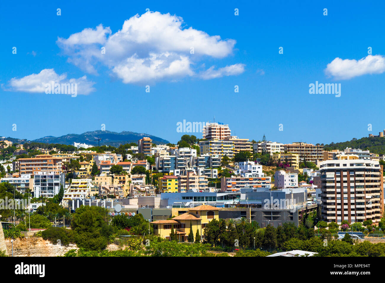 Panoramic view suburban Palma Mallorca in summer sunny day morning. - Stock Image