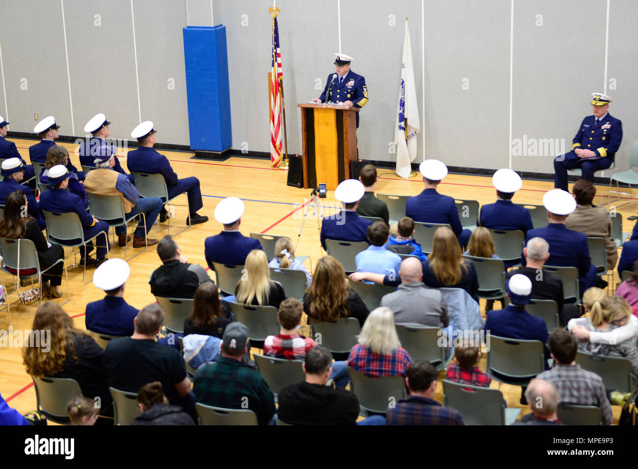 Master Chief Petty Officer of the Coast Guard Steven W. Cantrell delivers his remarks during a remembrance ceremony at Coast Guard Station Quillayute River in La Push, Wash., Sunday, Feb 12, 2017. The remembrance ceremony honored the 20-year anniversary of the loss of three Coast Guardsmen aboard Coast Guard Motor Lifeboat 44363. U.S. Coast Guard photo by Chief Petty Officer Nick Ameen - Stock Image