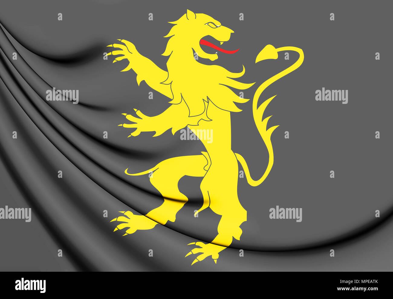 3D Flag of Ceredigion County, Wales. 3D Illustration. - Stock Image