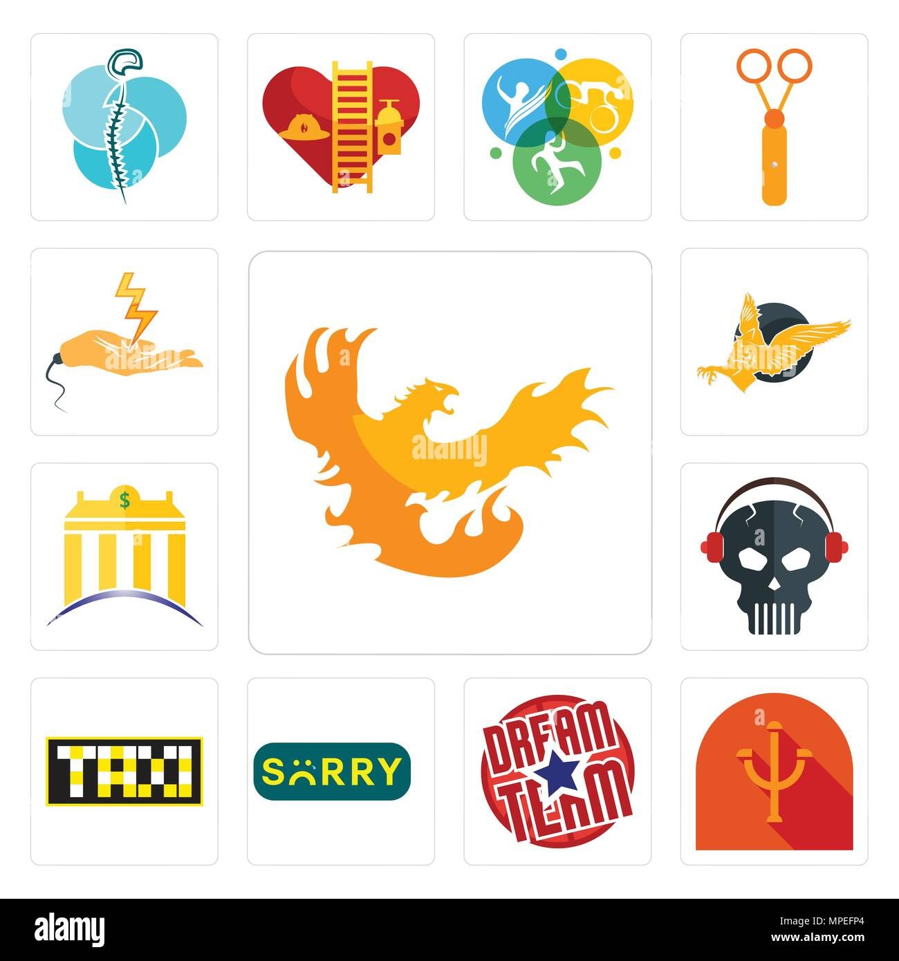 Set Of 13 simple editable icons such as phoenix, psi, dream team, sorry, taksi, skull with headphone, banque, gryphon, electrical contractor can be us - Stock Vector