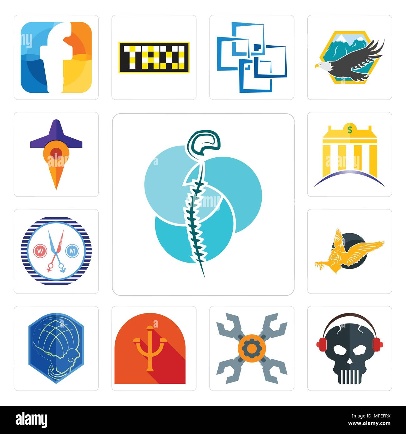 Set Of 13 simple editable icons such as neurosurgery, skull with headphone, appliance repair, psi, atlas, gryphon, unisex salon, banque, travel can be - Stock Vector