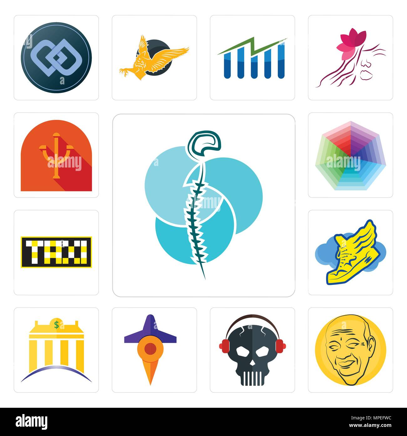 Set Of 13 simple editable icons such as neurosurgery, patel, skull with headphone, travel, banque, shoe wings, taksi, heptagon, psi can be used for mo - Stock Vector