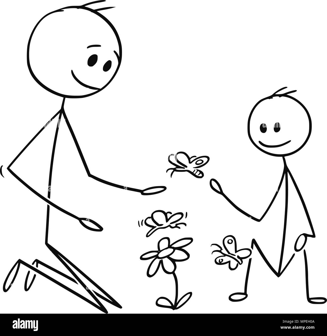 Cartoon of Father and Son Watching Flowers and Butterflies - Stock Image
