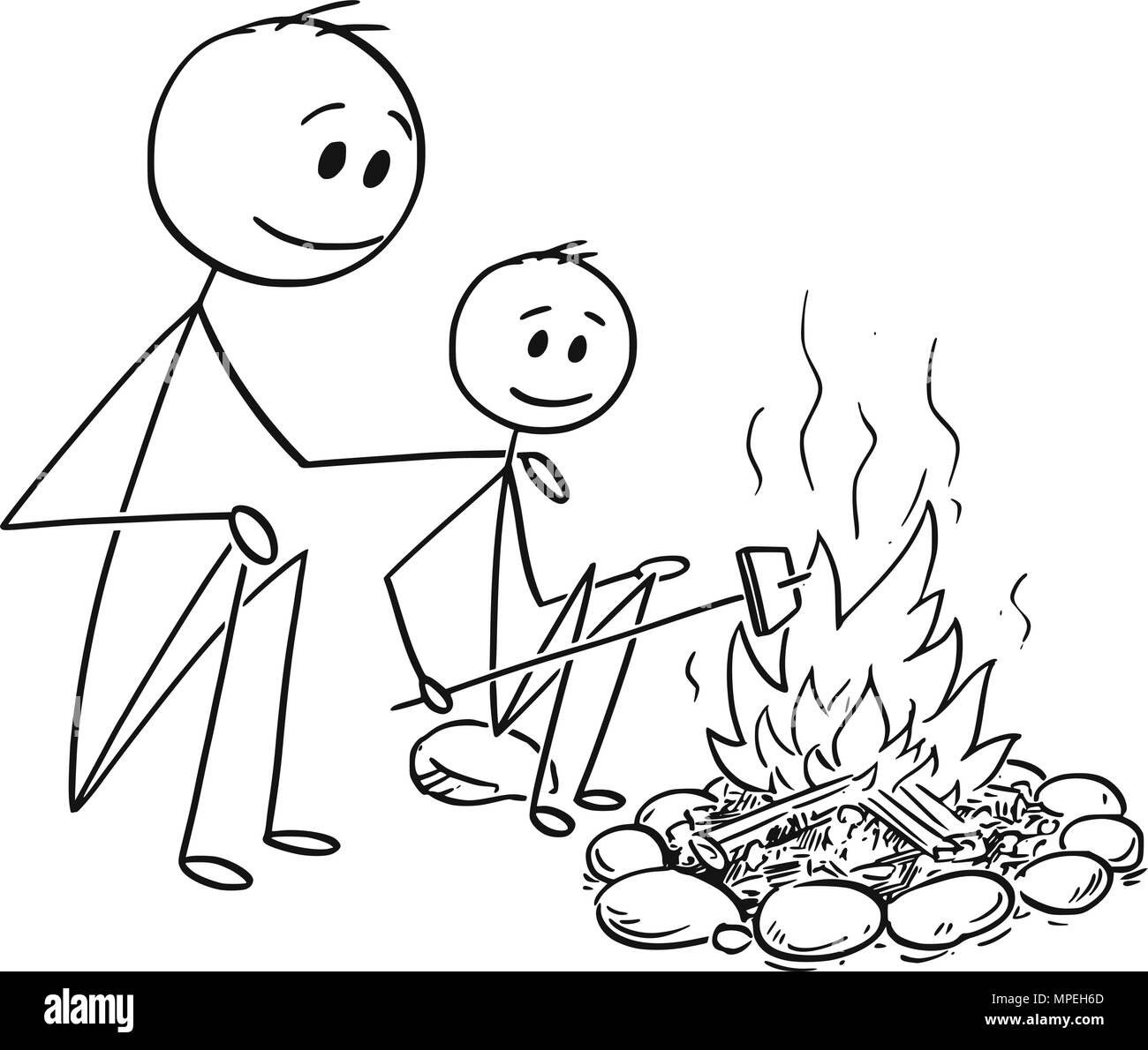 Cartoon of Father and Son Sitting Around Fire or Campfire - Stock Image