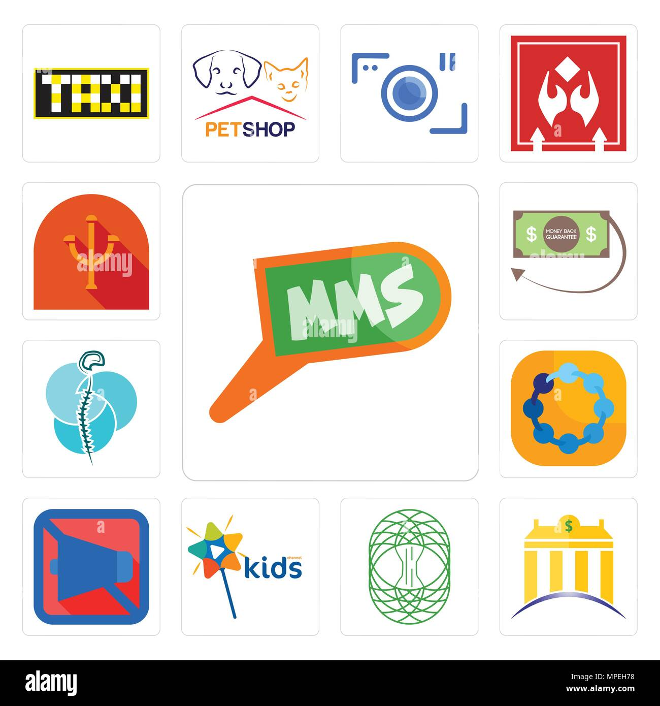 Set Of 13 simple editable icons such as mms, banque, celtic tree of life, kids channel, mobile silent, teamspirit, neurosurgery, money back guarantee, - Stock Vector