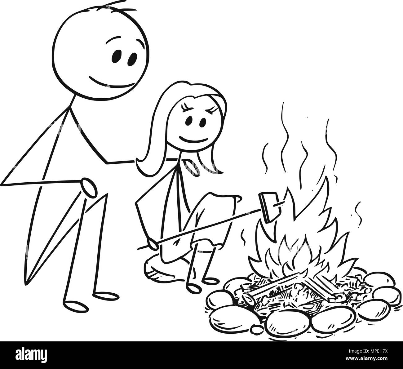 Cartoon of Father and Daughter Sitting Around Fire or Campfire - Stock Image