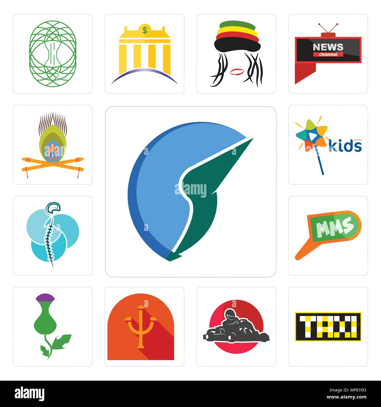 Set Of 13 simple editable icons such as trading co, taksi, kart, psi, thistle, mms, neurosurgery, kids channel, krishna can be used for mobile, web UI - Stock Vector