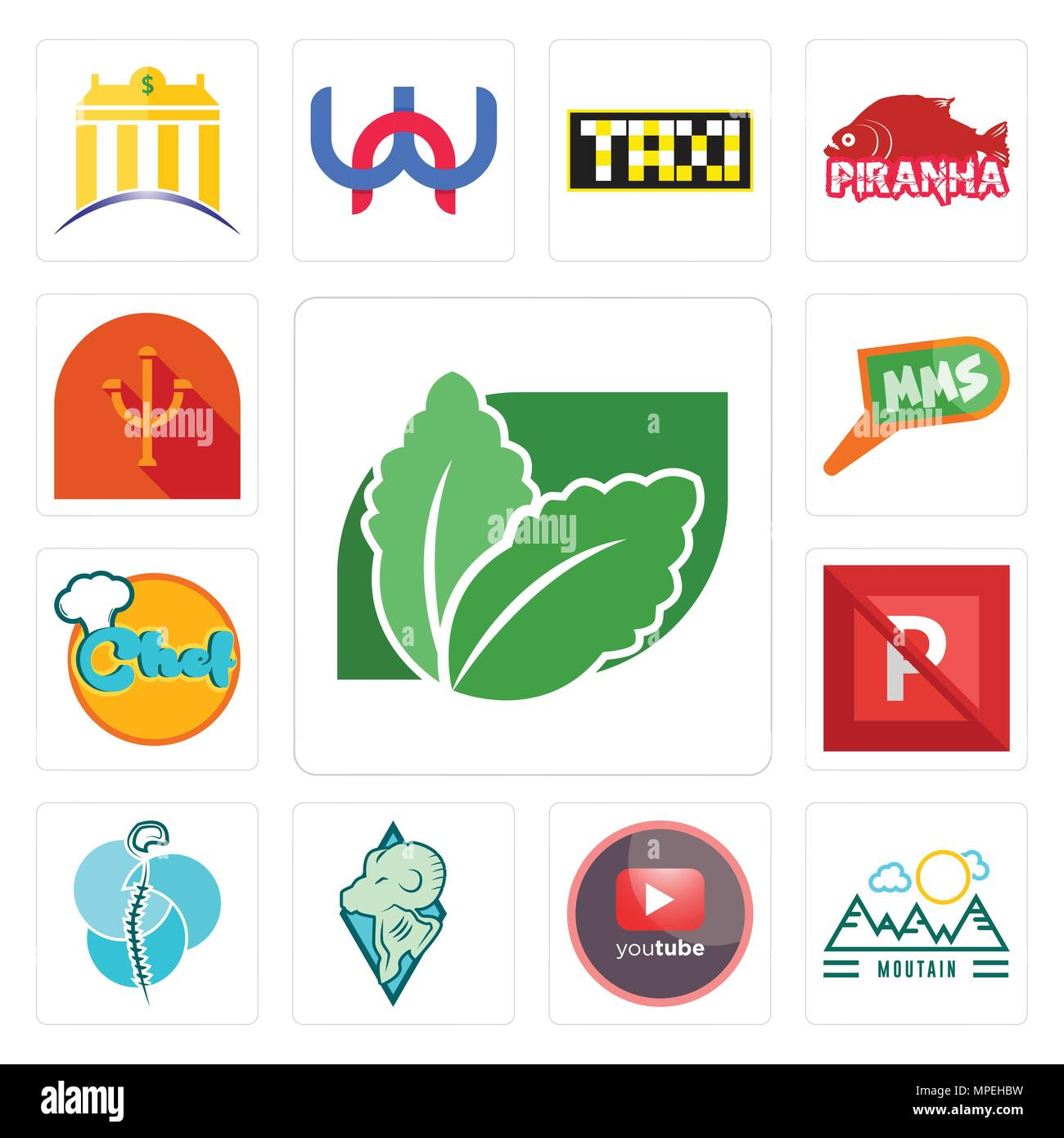 Set Of 13 simple editable icons such as stevia, moutain, pinetree, rams, neurosurgery, no parking, chef, mms, psi can be used for mobile, web UI - Stock Vector
