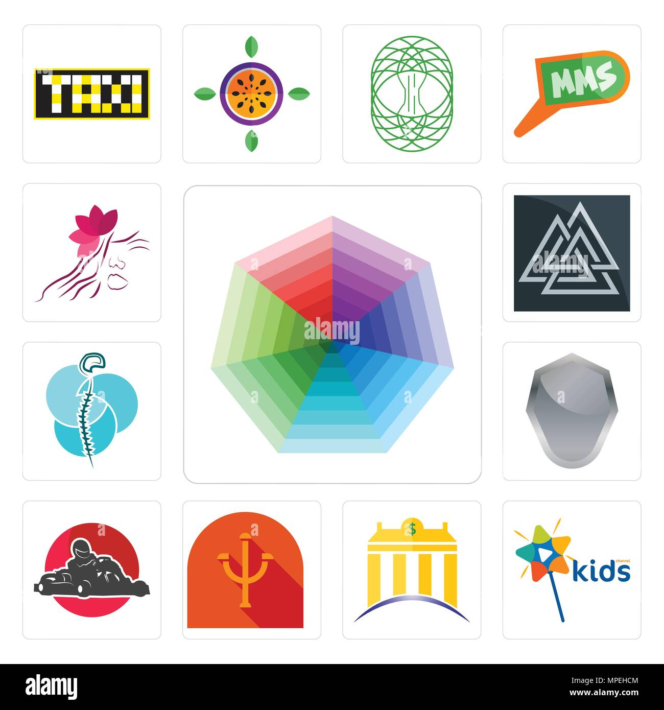 Set Of 13 simple editable icons such as heptagon, kids channel, banque, psi, kart, shield, neurosurgery, valknut, parlour can be used for mobile, web  - Stock Vector