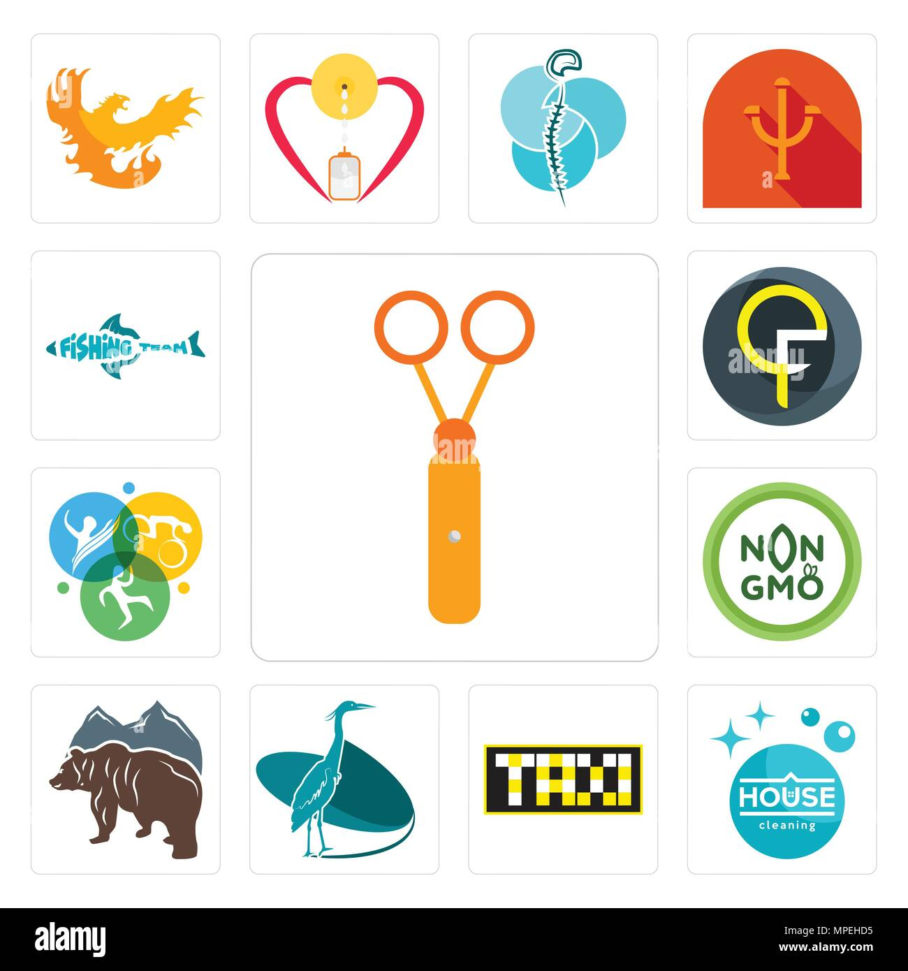 Set Of 13 simple editable icons such as scissors, house cleaning, taksi, heron, free bear, non gmo, swim bike run, qf, fishing team can be used for mo - Stock Vector
