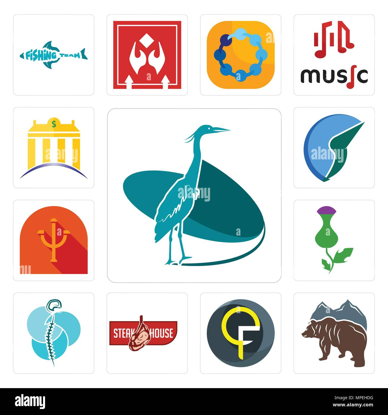 Set Of 13 simple editable icons such as heron, free bear, qf, steakhouse, neurosurgery, thistle, psi, trading co, banque can be used for mobile, web U - Stock Vector