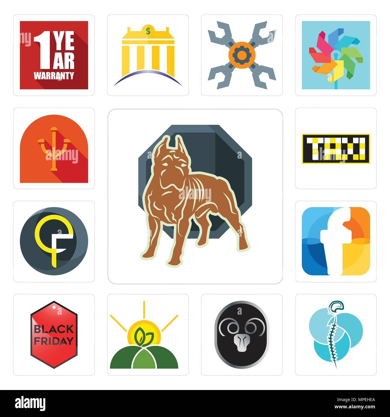 Set Of 13 simple editable icons such as pit bull, neurosurgery, ram, agro, black friday, f, qf, taksi, psi can be used for mobile, web UI - Stock Vector
