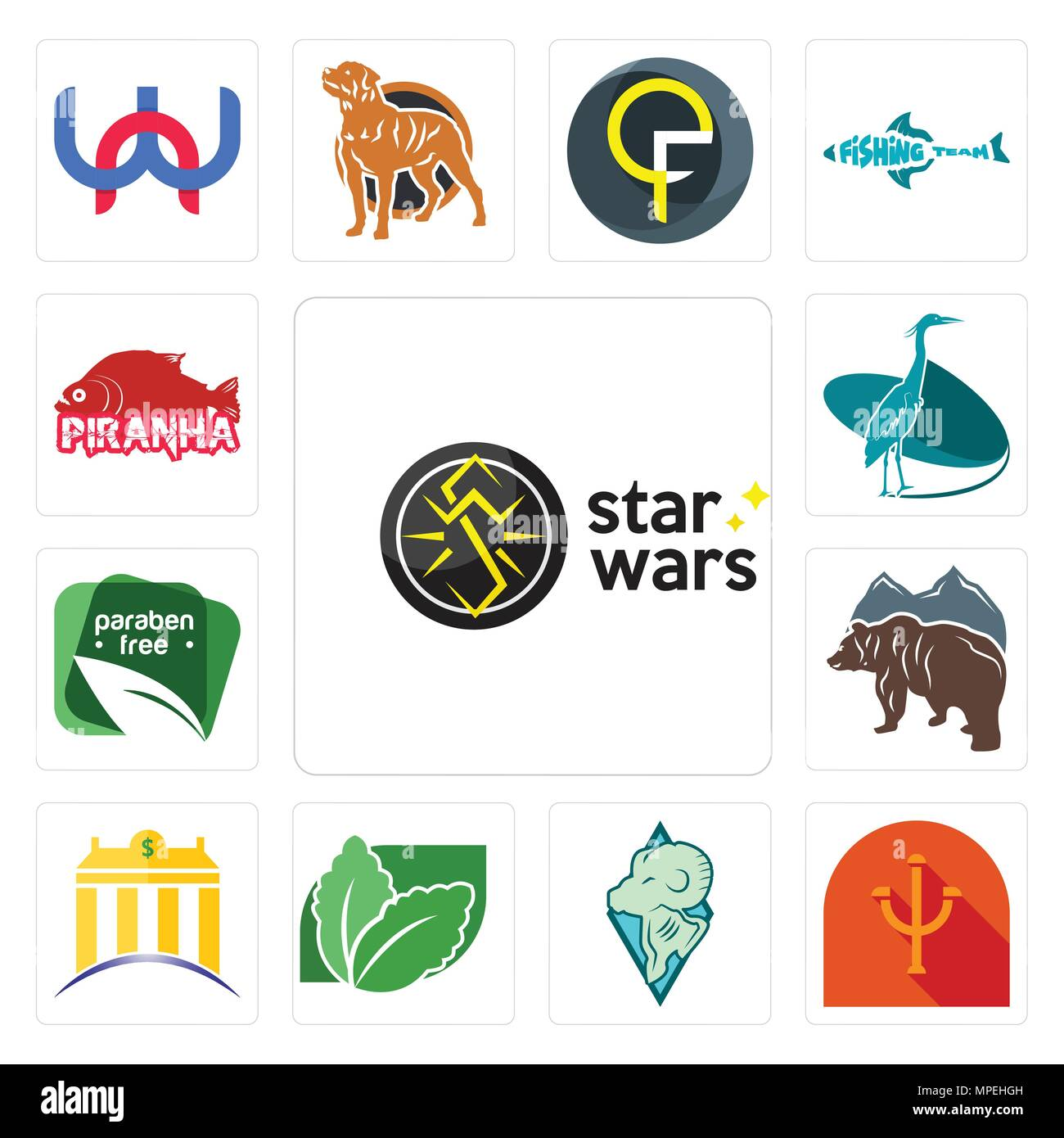 Set Of 13 simple editable icons such as star wars, psi, rams, stevia, banque, free bear, paraben free, heron, piranha can be used for mobile, web UI - Stock Vector