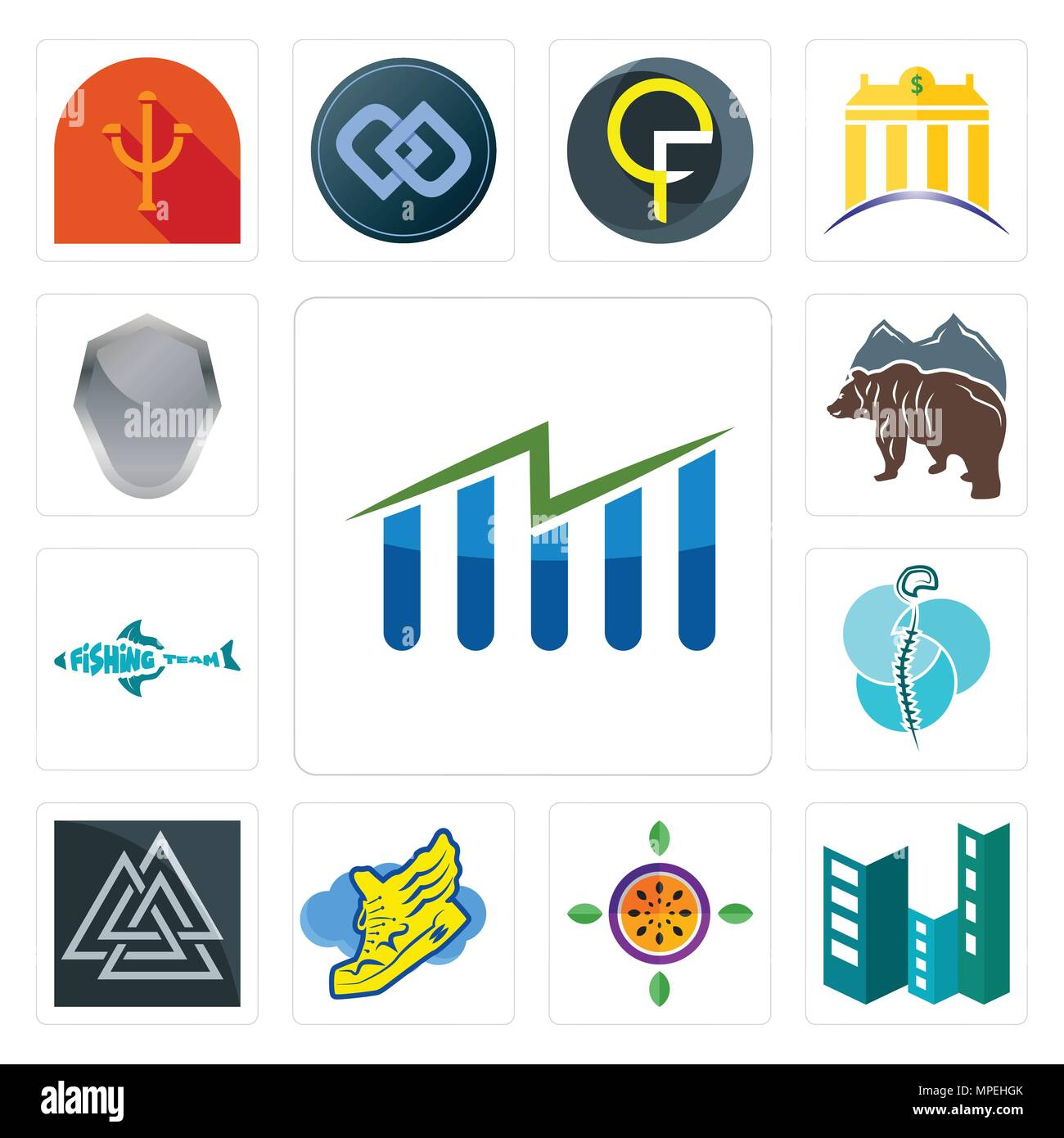 Set Of 13 simple editable icons such as free stock, construction, passion fruit, shoe with wings, valknut, neurosurgery, fishing team, bear, shield ca - Stock Vector