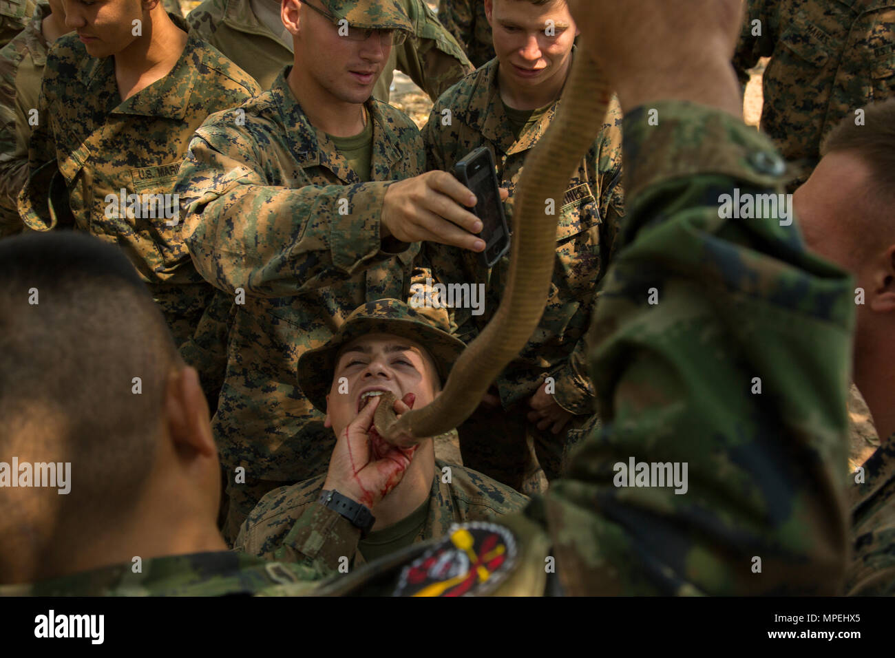 U.S. Marines drink cobra blood during Exercise Cobra Gold 17 at Camp Ban Chan Krem, Thailand, February17, 2017. Cobra blood and flesh are used as nutrition in a scenario where sustenance is scarce. Royal Thai Marines demonstrated various methods of surviving in the jungle. Cobra Gold is the largest Theater Security Cooperation exercise in the Indo-Asia-Pacific region and is an integral part of the U.S. commitment to strengthen engagement in the region. The U.S. Marines are with Battalion Landing Team, 2nd Battalion, 5th Marine Regiment assigned to the 31st Marine Expeditionary Unit, III Marine Stock Photo