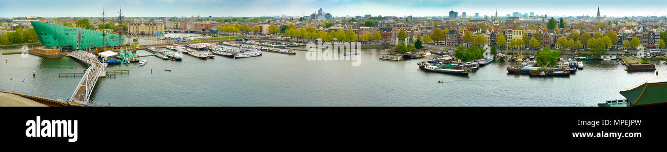 Panoramic view of Amsterdam from Eastern Docklands, Netherlands - Stock Image