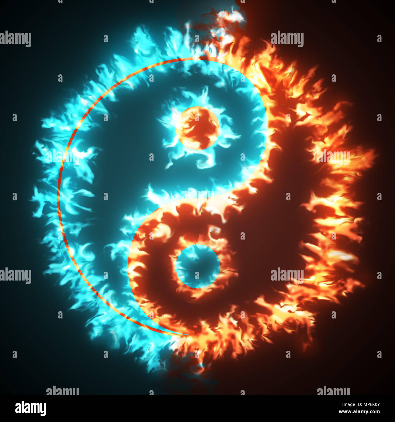 Yin And Yang Symbol On Red And Blue Fire Concepts Of The Bad