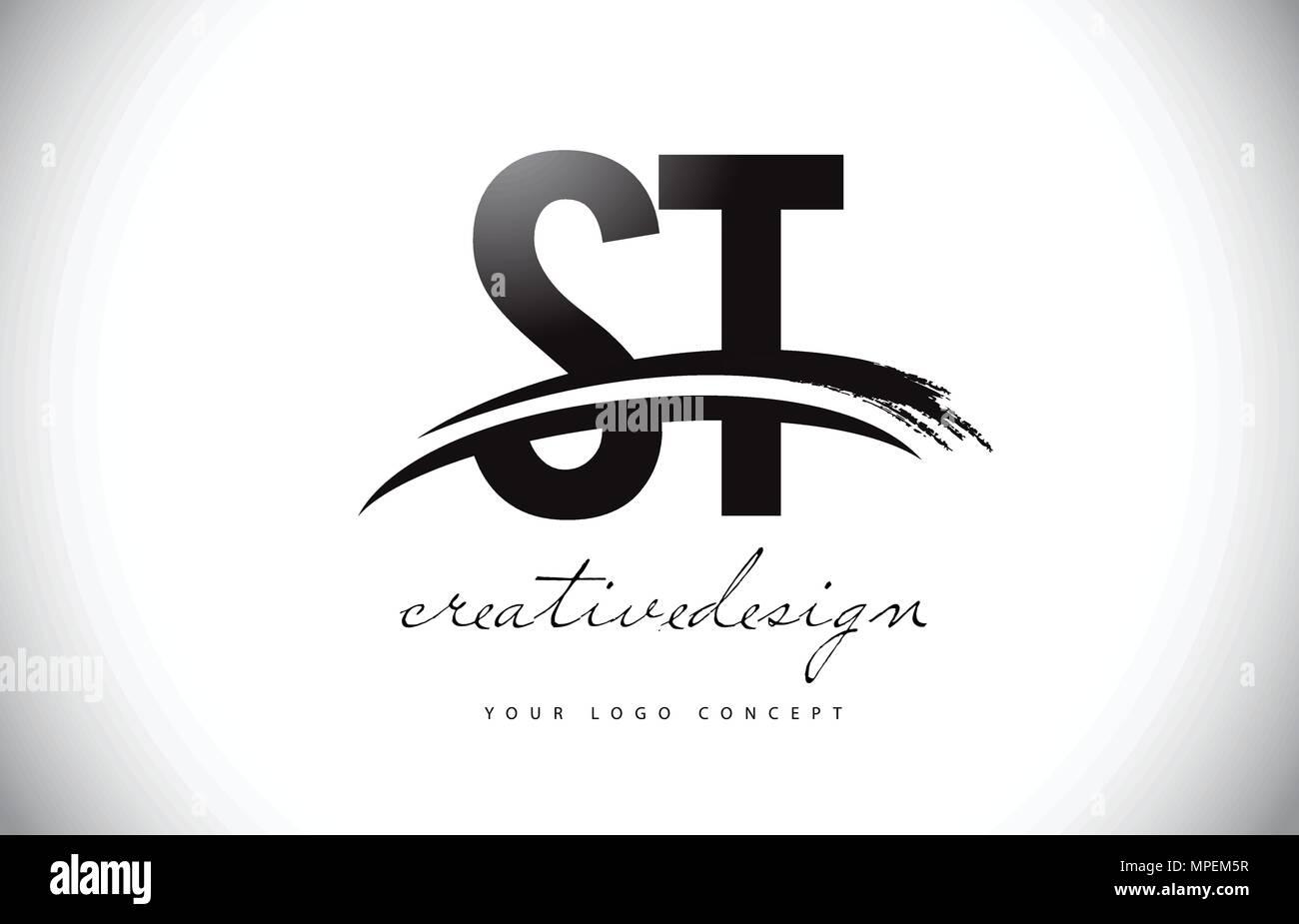St S T Letter Logo Design With Swoosh And Black Brush Stroke