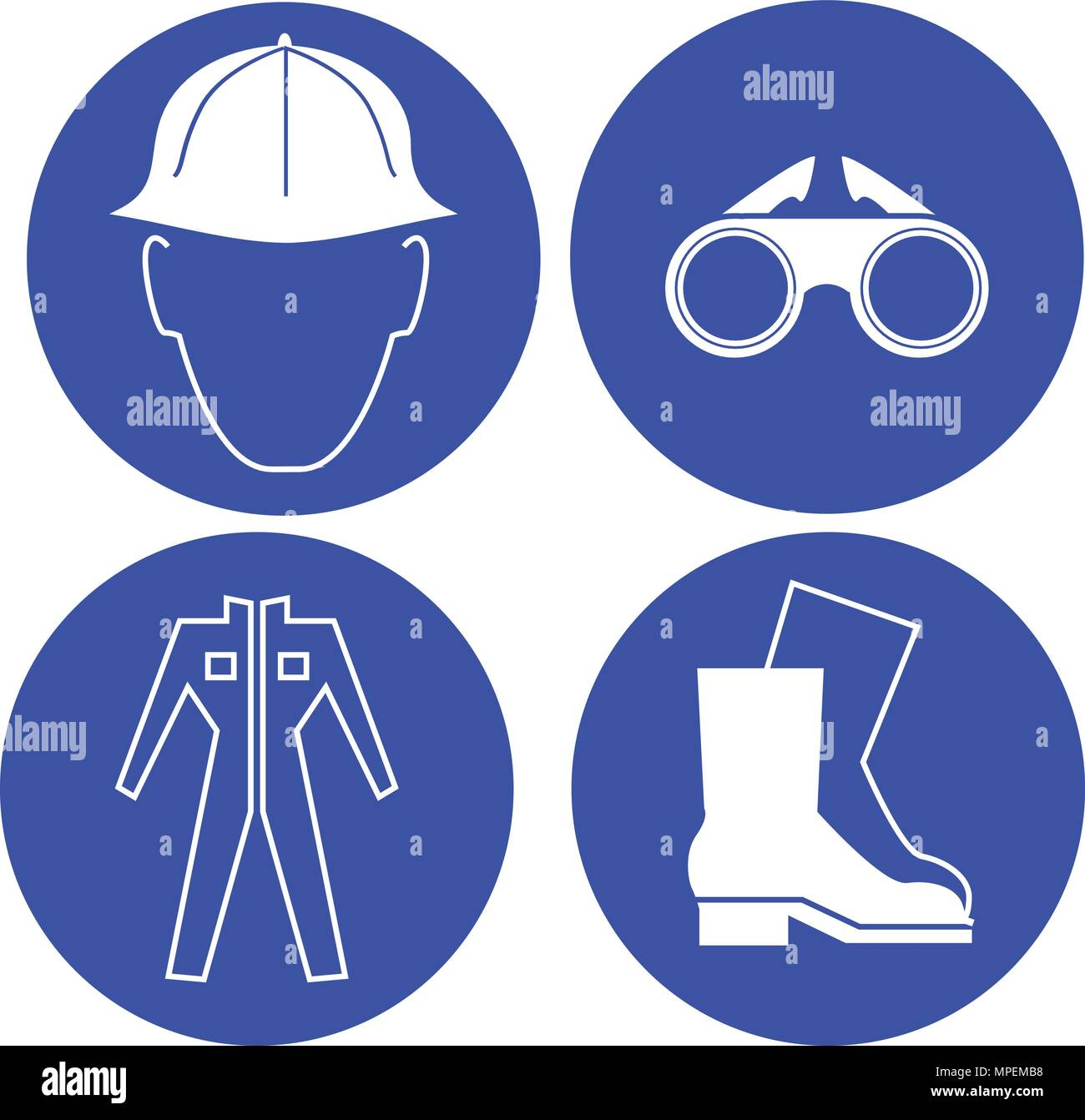 safety at work blue signs vector illustration - Stock Vector