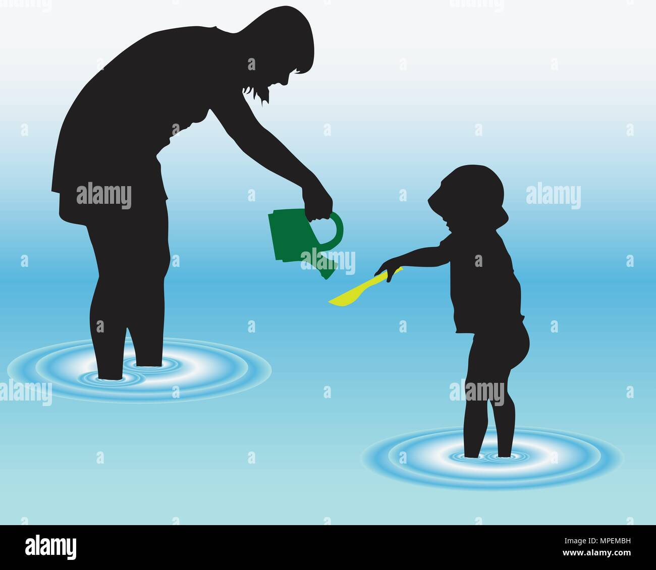 woman and child on beach playing vector illustration - Stock Vector