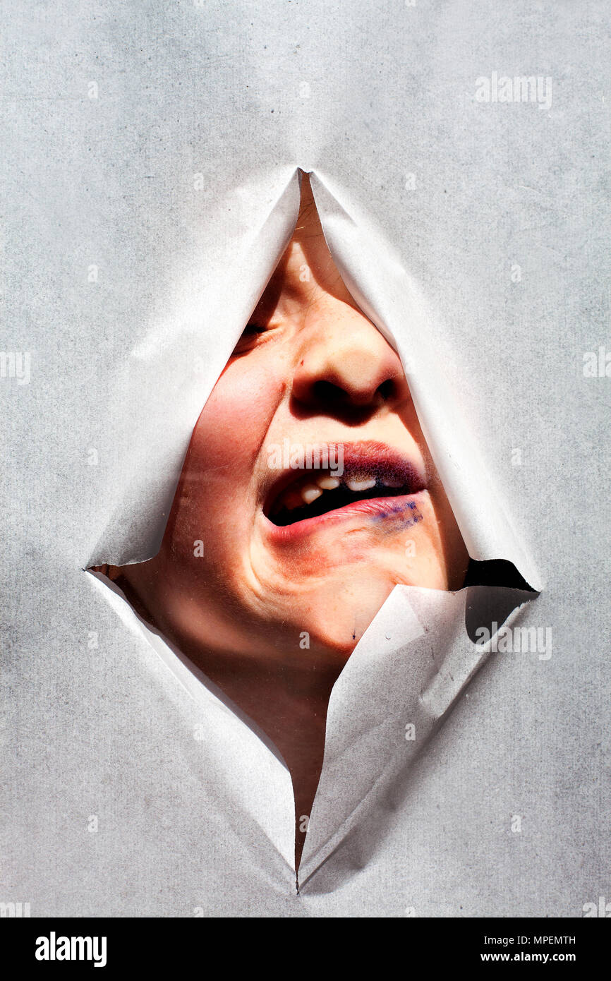 distorted face - Stock Image