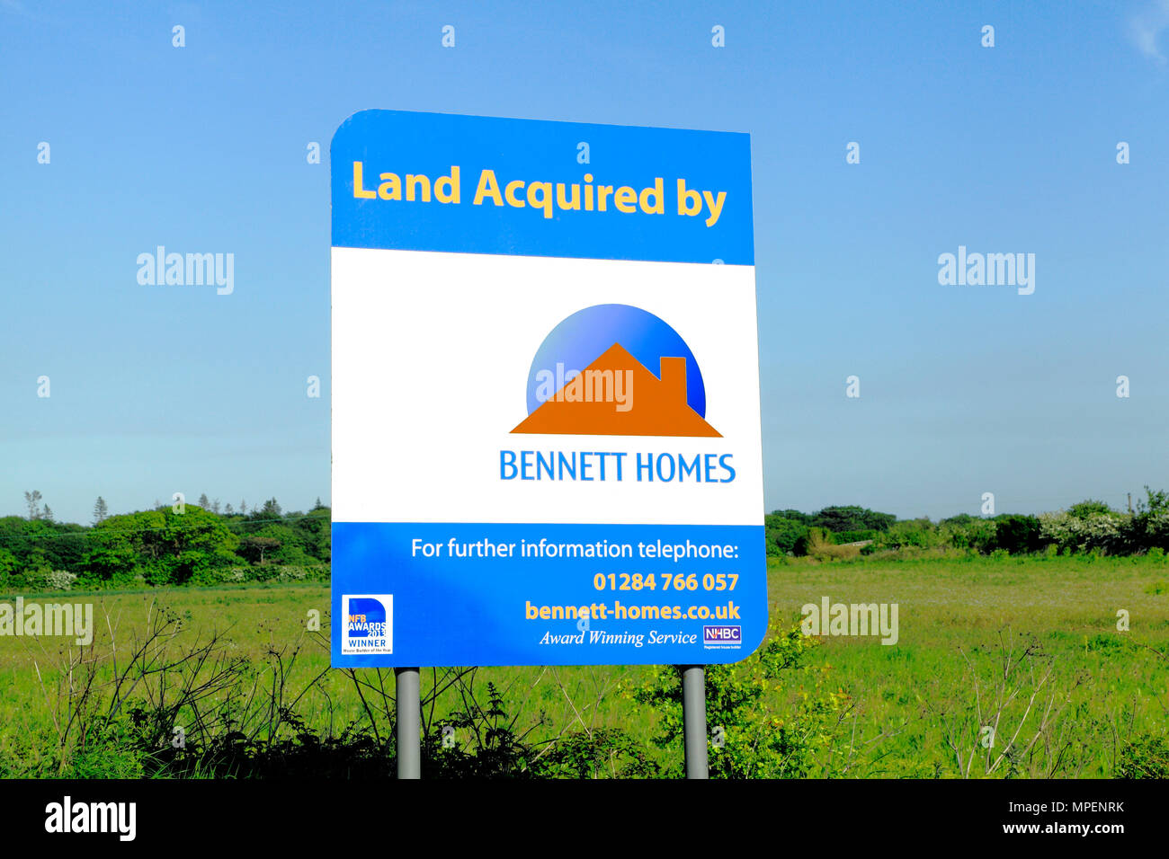 Bennett Homes, land acquisition, housing development, agricultural land, Hunstanton, sign, Norfolk, UK - Stock Image