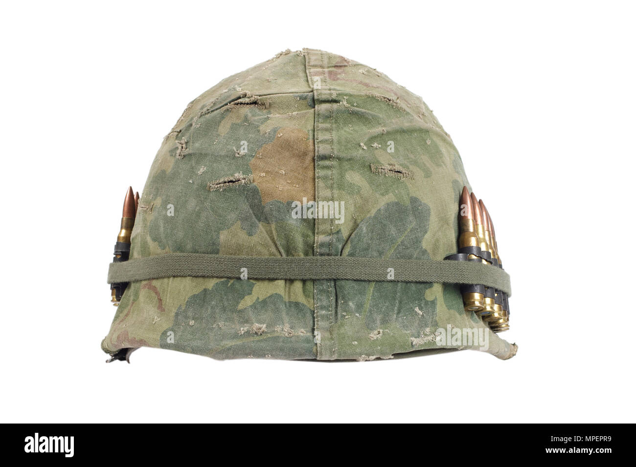 Us Army Helmet With Camouflage Cover And Ammo Belt Vietnam War Period Isolated Stock Photo Alamy