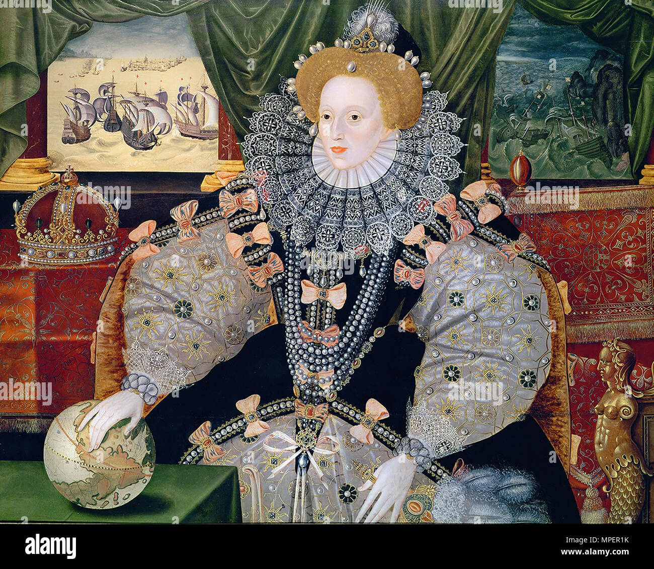 Portrait of Elizabeth I of England, the Armada Portrait, c1588, oil on panel, 133 × 105 cm, Location Woburn Abbey - Stock Image