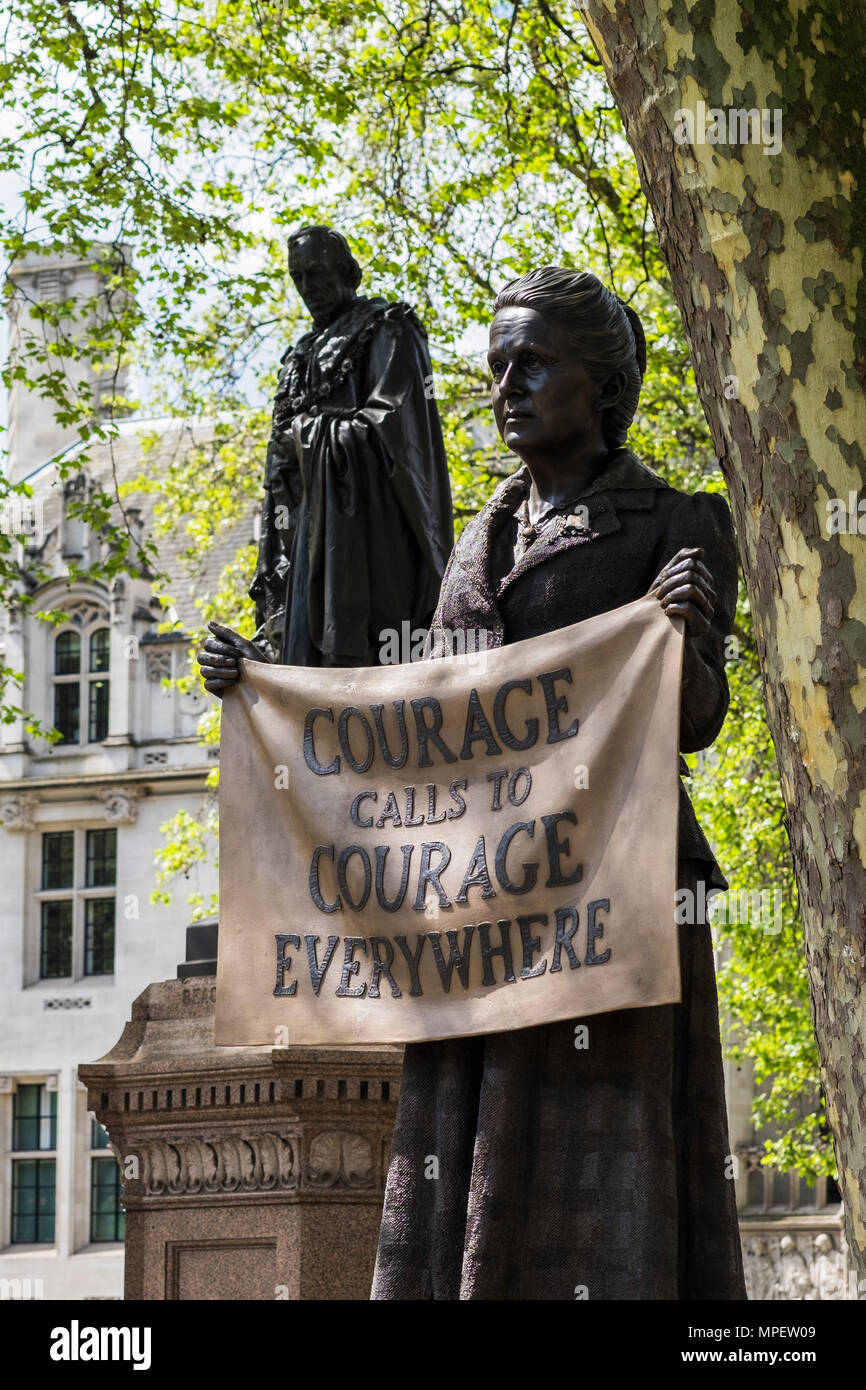 Dame Millicent Garrett Fawcett statue, Parliament Square, London, England, U.K. Stock Photo