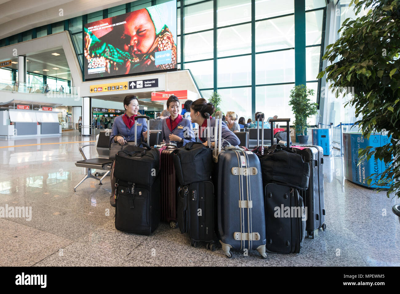 Rome Fiumicino airport, stewardess with luggages waiting for next fly sitting and speaking - Stock Image