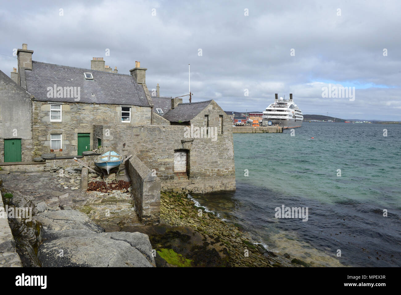 The Lodberries in Lerwick the iconic building depicted as the home of Jimmy Perez in the BBC Shetland series adapted from novels by Ann Cleeves - Stock Image