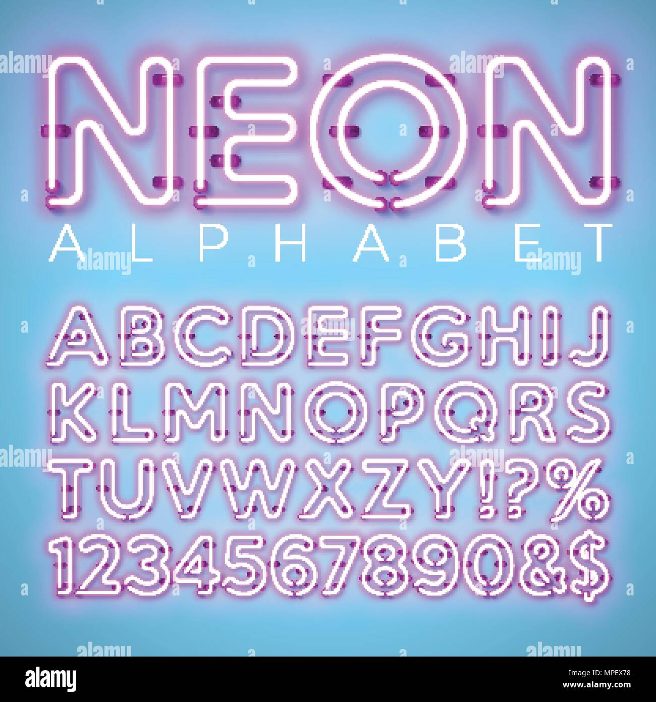 Bright Neon Alphabet On Blue Background Vector Letter Number And