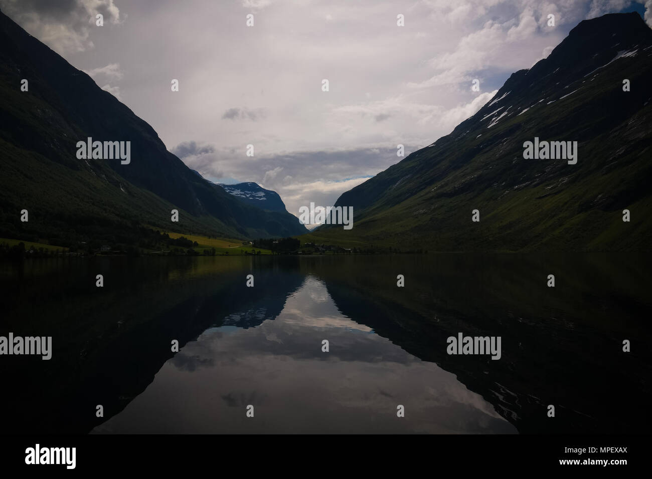 Panorama view to Eidsvatnet lake near Skogmo at Nord-Trondelag, Norway - Stock Image