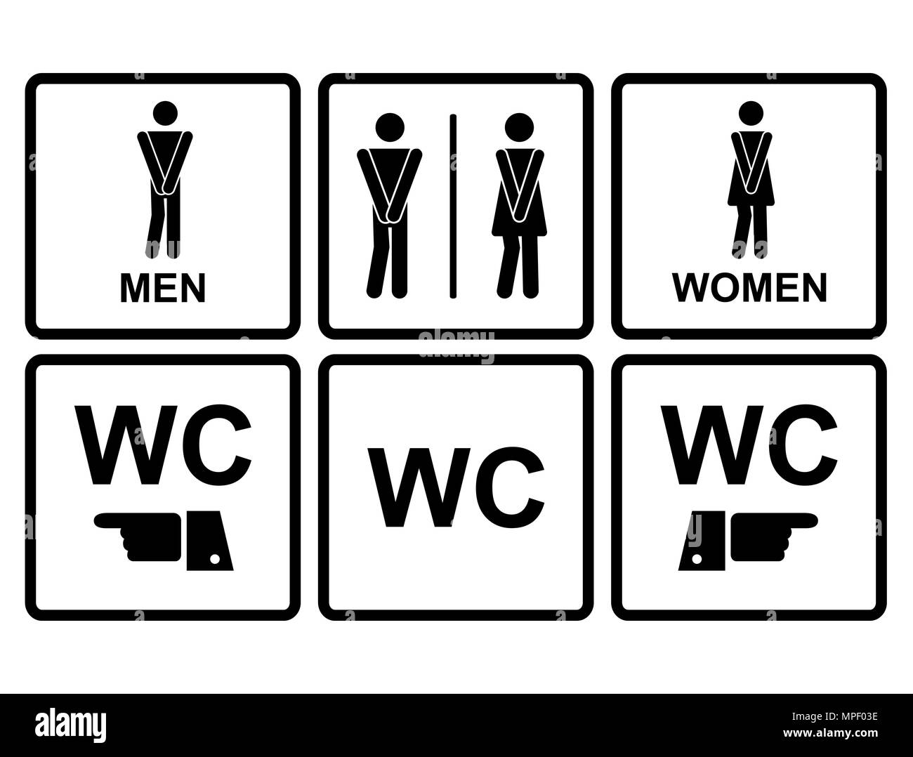 Male And Female Wc Icon Denoting Toilet Stock Vector Art