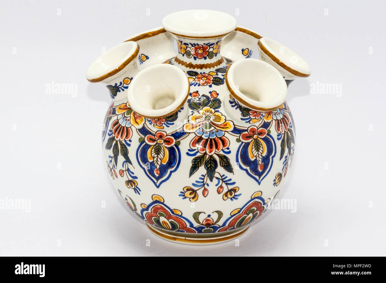 Delft pottery tulip vase - Stock Image