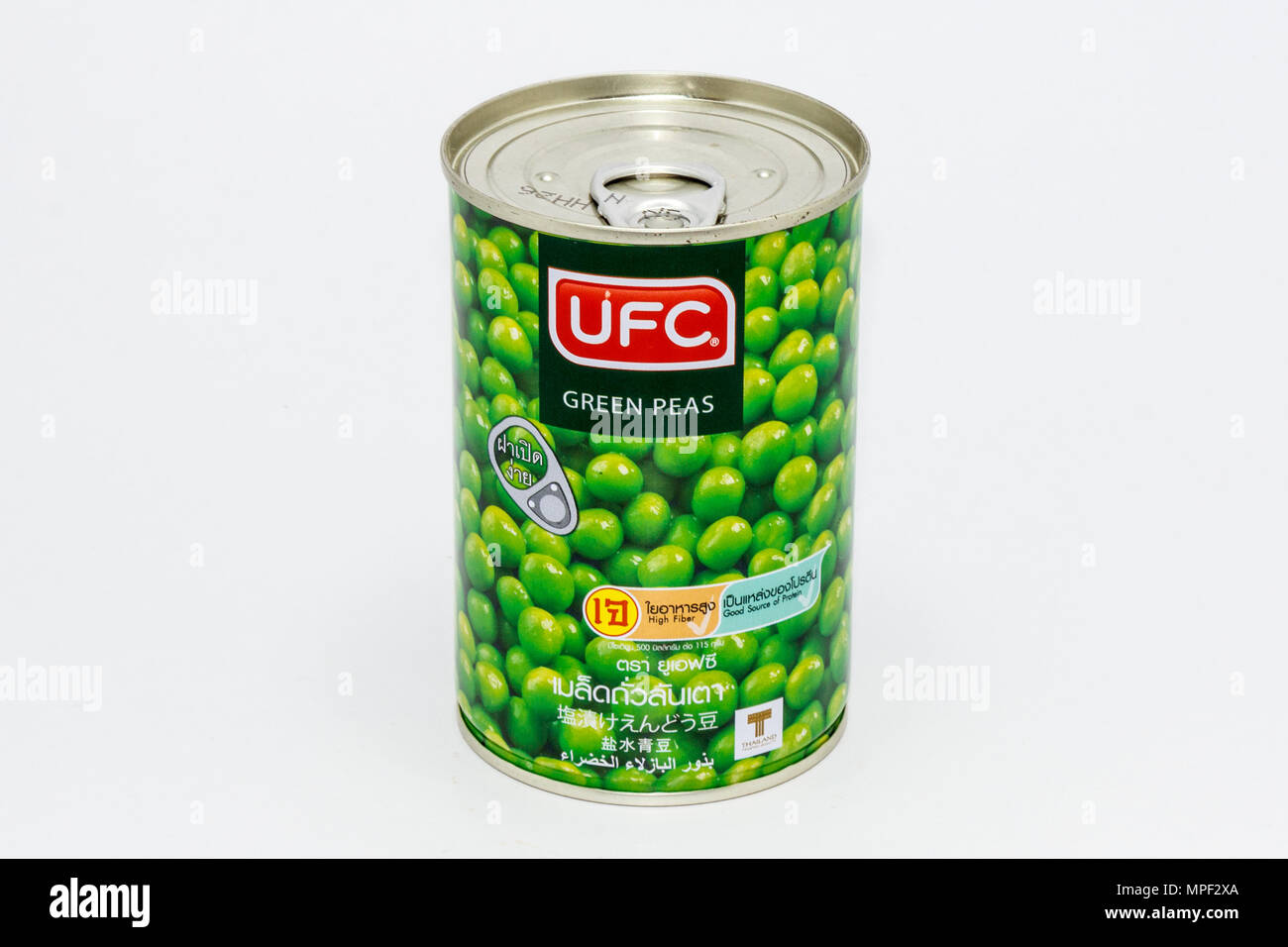 Phuket, Thailand-17th April 2018: Can of UFC green peas - Stock Image
