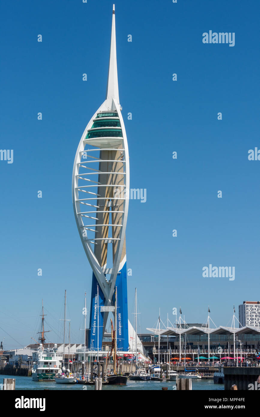 The spinnaker tower on the waterfront at gunwharf quays on the edge of portsmouth harbour and the historic dockyard. Shooting centre retail outlets. - Stock Image