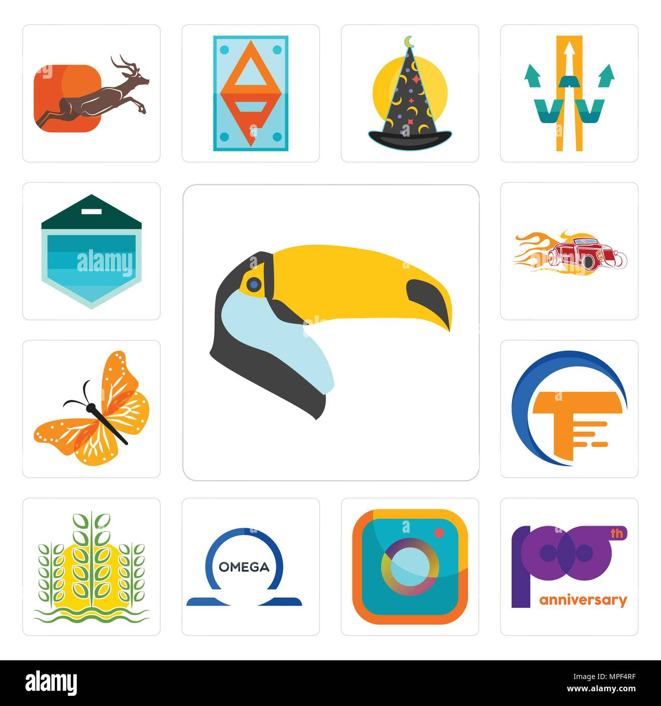 Set Of 13 Simple Editable Icons Such As Toucan 100th Anniversary