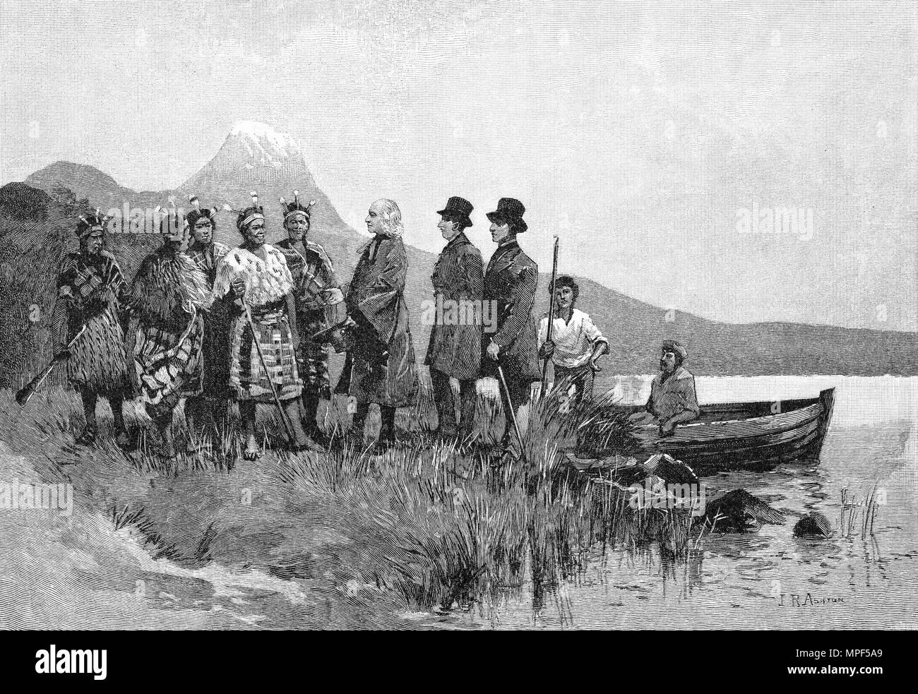 Engraving of the Rev Samuel Marsden arriving to spread the Anglican gospel among the Maori, New Zealand, 1813. From the Picturesque Atlas of Australasia Vol 3, 1886 - Stock Image