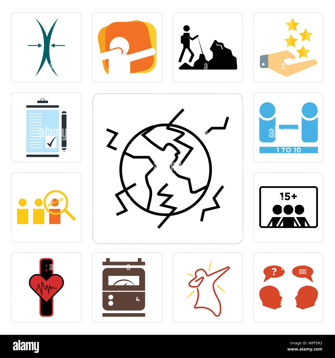 set of 13 simple editable icons such as earthquake inquiry dab